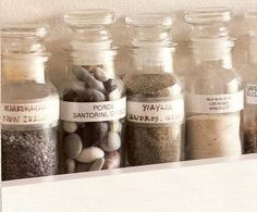 Preserve vacation memories by filling small spice jars with collected rocks, sand, dirt and labeling them