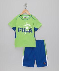 Fila_Green & Navy 'FILA' Soccer Tee & Shorts - Toddler & Boys http://www.zulily.com/invite/apopov038