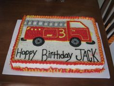 Ideas For Fire Truck Cake Buttercream Galleries Truck Birthday Cakes, Birthday Sheet Cakes, Truck Cakes, Monster Truck Birthday, Birthday Fun, Birthday Ideas, Fireman Party, Firefighter Birthday, Fire Engine Cake