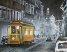 Eléctrico na Rua 31 de Janeiro / Porto - Pinturas, Matizes e Desenhos de António Rato: Óleo sobre Tela