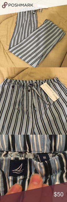 SALE Sperry Topsider Passion For The Sea pants NWT They are women's PJ pants but can be warn however you like. Super cute dark blue and light blue stripes with white. Super cute buttons on the front and the pants have pockets. Sperry Top-Sider Pants