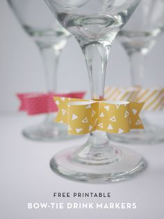 by Alix Sorrell Help your guests keep track of their drinks with these easy to assemble printable bow-ties! These adorable tags come in 6 different patterns. Write your name on the back and save your