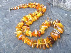 Baltic Amber Necklace Long Chunky Yellow Brown Green by SanaGem Baltic Amber Necklace, Rustic Shabby Chic, Beaded Collar, Amber Beads, Knot Necklace, Yellow And Brown, Summer Colors, Fallen Leaves, Thyroid Gland