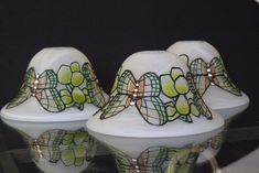 Vintage glass light shades, with butterfly detail. Rare, unique and gorgeous, vintage lamps, lighting, chandeliers - pinned by pin4etsy.com