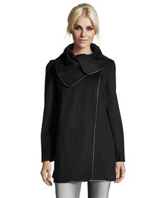 T Tahari black wool blend 'Thaliand' asymmetrical three quarter coat | BLUEFLY up to 70% off designer brands