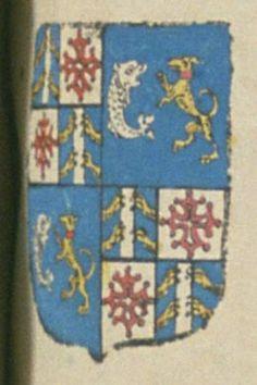 Henry DE BRANCAS, marquis de Cereste, conseiller du Roy en ses conseils et sénéchal en Provence au siège et ressort de Forcalquier. Porte : écartelé, au 1er et 4e : d'azur, à un pal d'argent, chargé de trois tours de gueules, accosté de quatre pattes de lion d'or ; contre-écartelé ; d'or à une croix vuidée, clichée et pommetée de gueules ; au 2e et 3e : grand quartier : d'azur, à un dauphin, et un lévrier affrontez, le dauphin pâmé d'argent, le lévrier rampant d'or, accolé et [...] | N° 53