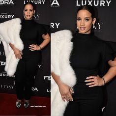 #DaschaPolanco accents her all black with a white fur on the #FootwearNews Achievement Awards  red carpet . #FootwearNewsAchievementAwards #FNAA #fashion #fentyxpuma #fashion #style #orangeisthenewblack #oitnb #puma #rihannapuma #redcarpet #celebedition