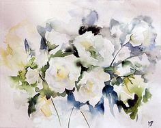 Les roses de Pondichéry (Painting),  20x24 cm by Véronique Piaser-Moyen Aquarelle originale sur papier 240 G