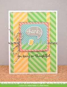 Lawn Fawn - #awesome + coordinating die, Chit Chat + coordinating dies, Many Thanks, Grassy Border Lawn Cuts die, Let's Polka Freshly Cut Grass and Sunflower Line Dance 12x12 paper, Let's Polka 6x6 paper, Cloudy Lawn Trimmings _ card by Chari for Lawn Fawn Design Team
