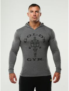 golds gym tri-blend hoodie grey front