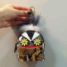NEW Famous Brand Monster PU Leather Serpentine pattern Mini Coin Purse women Wallet Key Chain Accessories Fur Keychains Pendant