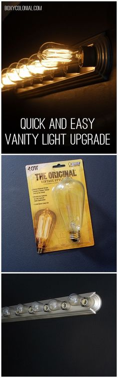 Upgrade your builder grade vanity light with spray paint and Edison light bulbs