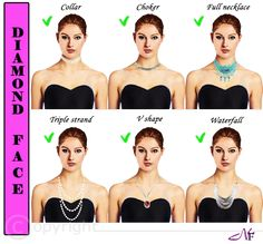 Necklaces And Earrings . When it comes to Necklines,jewelries and make up its all about knowing your face shape.it is important to choose jewelries that are complimentary to the shape of your fa…