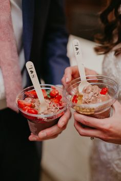 Wedding cake alternative. Ice cream bar at wedding with toppings. Custom wedding spoons.