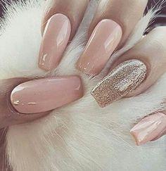 Gold baby pink nails