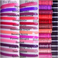 all twelve of the NEW NYX Intense Butter Glosses Nyx Lipstick, Lipstick Colors, Lip Colors, Lipsticks, Colours, Makeup Geek, Makeup Addict, Beauty Makeup, Makeup 101