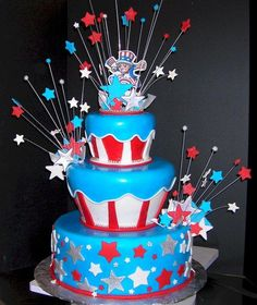 Star Spangled Supper 4th of July Cake