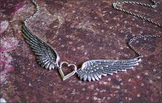 Angel Wing Necklace Two GORGEOUS DETAILED by RevelleRoseJewelry