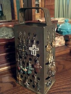 Love that I can see my jewelry AND display this old vintage cheese grater!