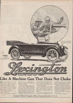 1918 Lexington Motor Car Connersville IN WWI M1917 Browning Machine Gun Ad