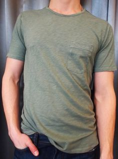 Velvet one pocket tee in green or blue $85 from Gotstyle Menswear.