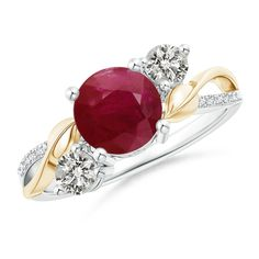 Ruby and Diamond Twisted Vine Ring in 14K White and Yellow Gold (7mm Ruby) *** Read more at the image link. (This is an affiliate link)