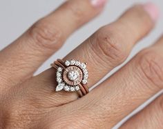 Diamond Sun Ring Three Ring Set Diamond Ring Set Sun
