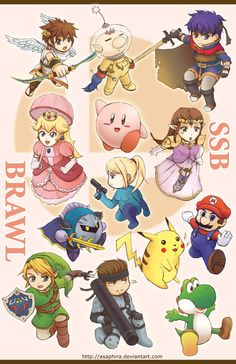 Smash Bros BRAWL Chibis By: Asaphira