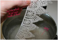 stiffening lace with sugar starch solution