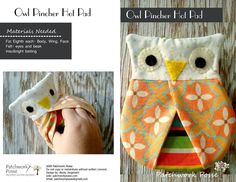 Sewing: Owl Hotpad Pincher
