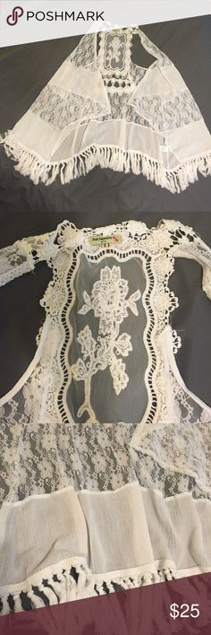"""NWOT Long lace vest This has never been worn but doesn't have tags, this is absolutely gorgeous, I am tempted not to sell it, perfect for any summer occasion, length goes about to the back of the knees depending on how tall you are (I'm 5' 4"""") and the lace has no tears or stains, this is brand new. Tops"""