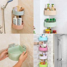 Dorm bathroom decor - Plastic Bathroom Kitchen Corner Storage Rack Organizer Shower Shelf Random Holes About The Item This item with hollow bottom and viscose can help you make better use of the corner space for storage Corner Storage, Bathroom Storage Shelves, Shower Shelves, Bathroom Organisation, Storage Rack, Shower Storage, Glass Shelves, Dorm Bathroom, Small Bathroom