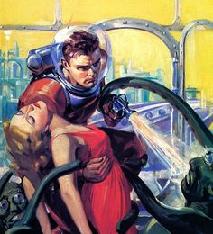 """Dramatic space rescue illustration by Robert Lesser from """"Future Fiction"""" pulp magazine"""