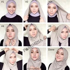 Simple Graceful Pashmina Hijab Tutorials for Formal and Everyday – Hijab … Square Hijab Tutorial, Simple Hijab Tutorial, Pashmina Hijab Tutorial, Hijab Style Tutorial, Hijab Casual, Hijab Chic, Modern Hijab Fashion, Street Hijab Fashion, Muslim Fashion