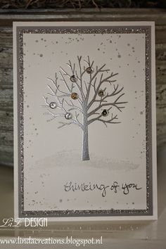 handmade winter card ... Sheltering Tree embossed in silver ... double silver matting ... delightful! ... Stampin\' Up!