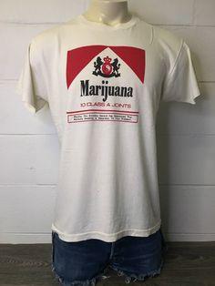 2b069c154 Marlboro Weed Parody Shirt 80s Vintage RARE Funny Pot Drug 420 Reefer  Marijuana Joints Tshirt Spliff Blunt Herb Size Large