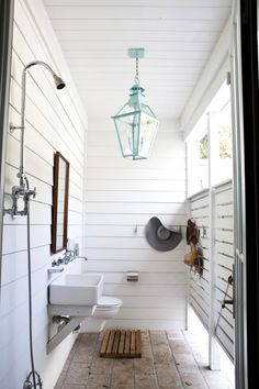 The perfect outdoor shower by the beach.