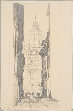 From the Harvard Art Museums' collections S. Pietro from the Borgo Vecchio, Rome, Italy Rome Painting, Harvard Art Museum, Design Theory, Illustration Sketches, City Art, Rome Italy, Line Drawing, Contemporary Art, History