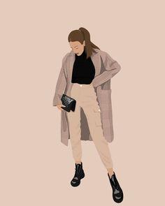 People Illustration, Portrait Illustration, Illustration Girl, Girl Cartoon, Cartoon Art, Mode Collage, Photo Vintage, Digital Art Girl, Aesthetic Art