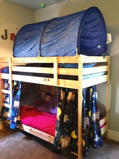 Bunk bed curtains on wire curtain hangers