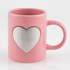 Pink Heart Ceramic Mug Have it engraved for a personalized gift she will love. #coffee #coffeemug #personalizedgifts