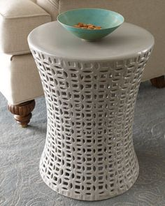 Gray Basketweave Garden Seat at Horchow. Use as an ourdoor side table or adtl seating. Home Decor Furniture, Accent Furniture, Living Room Furniture, Home Furnishings, Outdoor Furniture, White Stool, Garden Seating, Home Decor Accessories, Basket Weaving