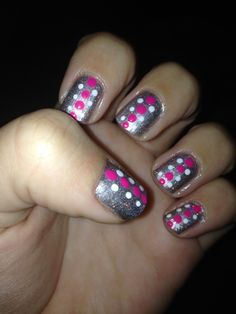 Silver with pink and white polka dot nails