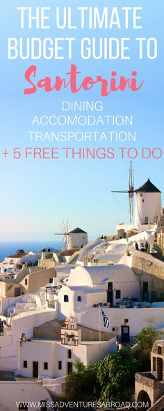 The Ultimate Budget Guide To Santorini. Helpful tips for finding budget accommodation, dining, transportation, plus 10 FREE things to do in Santorini, Greece Mykonos, Santorini Greece, Santorini Travel, Santorini Accommodation, Oh The Places You'll Go, Places To Travel, Travel Destinations, European Honeymoon Destinations, Greece Vacation