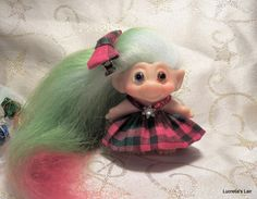 Red and Green Plaid Dress for Dam Scandia Troll Swarovski by LucretiasLair on Etsy