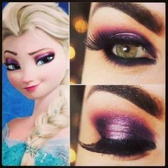 Frozen Elsa makeup, i like this a lot more than the others I've seen. Most light skinned blondes don't look good with the lighter purple shadow, it makes them look tired or sick.