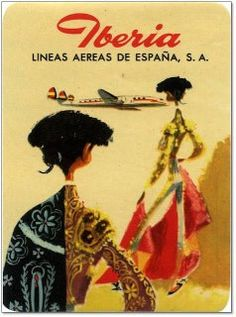Used by Iberia. it's fascinating to see how logos change over the years. Vintage Maps, Vintage Travel Posters, Vintage Airline, Poster Vintage, Spanish Posters, Travel Ads, Art Deco Posters, Vintage Advertisements, Travel Posters