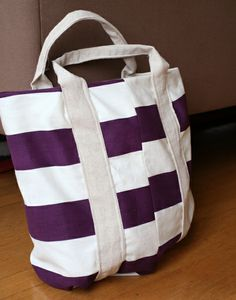 DIY Purple Striped Market Tote | Say Yes
