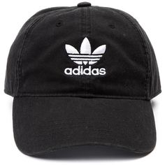 adidas Trefoil Relaxed Dad Cap ❤ liked on Polyvore featuring accessories, hats, adidas cap, adidas, canvas hat, embroidered caps and strap hats