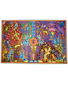 Huichol yarn art from Nayarit, Mexico. HCHL-01